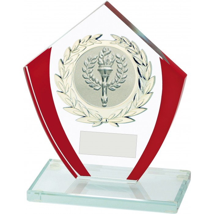 RED FEATURE 10MM THICK BUDGET GLASS AWARD - STOCK CENTRE - 3 SIZES
