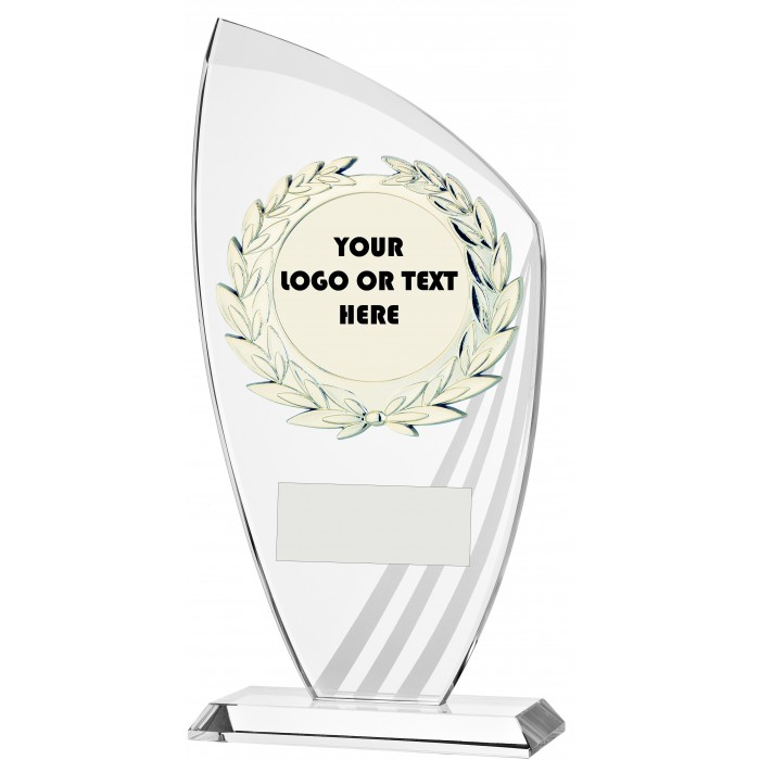 FROSTED STRIPE 10MM THICK BUDGET GLASS AWARD - CUSTOM CENTRE - 3 SIZES