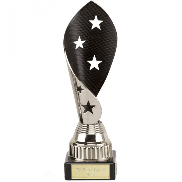 GYMNASTICS STAR TWIRL TROPHY - 3 SIZES AVAILABLE - BLACK & SILVER