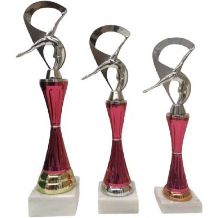 CHEERLEADING TROPHY ON COLOURED RISER WITH METAL FIGURE - 3 SIZES