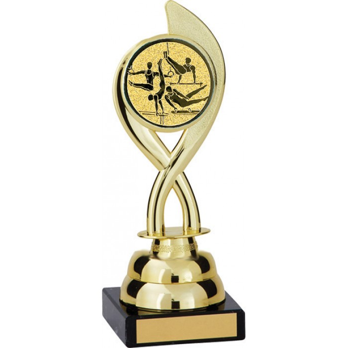 8'' SWIRL PLASTIC GYMNASTICS TROPHY - CHOICE OF CENTRE