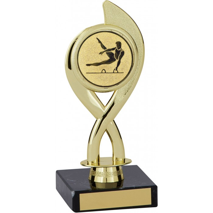 7'' SWIRL PLASTIC GYMNASTICS TROPHY - CHOICE OF CENTRE