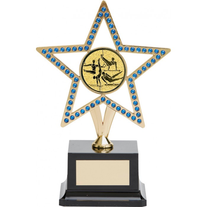 10'' GOLD METAL STAR GYMNASTICS TROPHY WITH BLUE GEMSTONES - CHOICE OF CENTRE