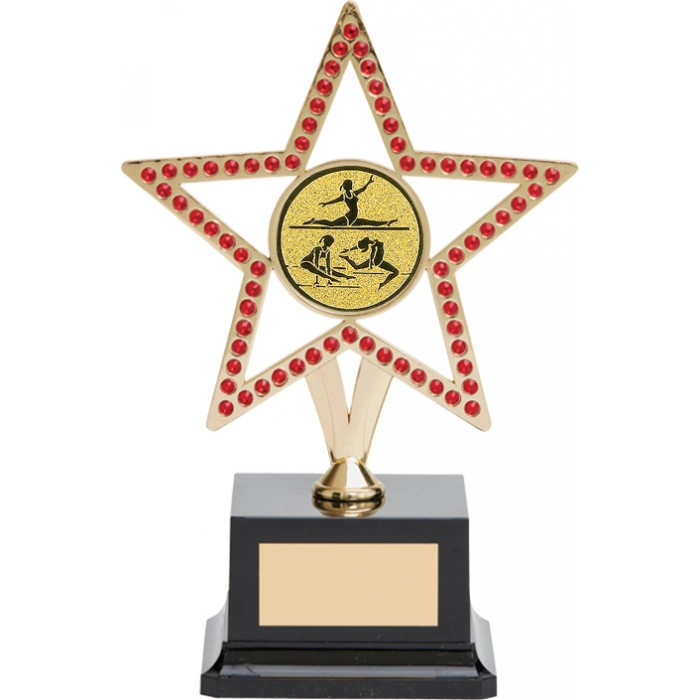 10'' GOLD METAL STAR GYMNASTICS TROPHY WITH RED GEMSTONES - CHOICE OF CENTRE