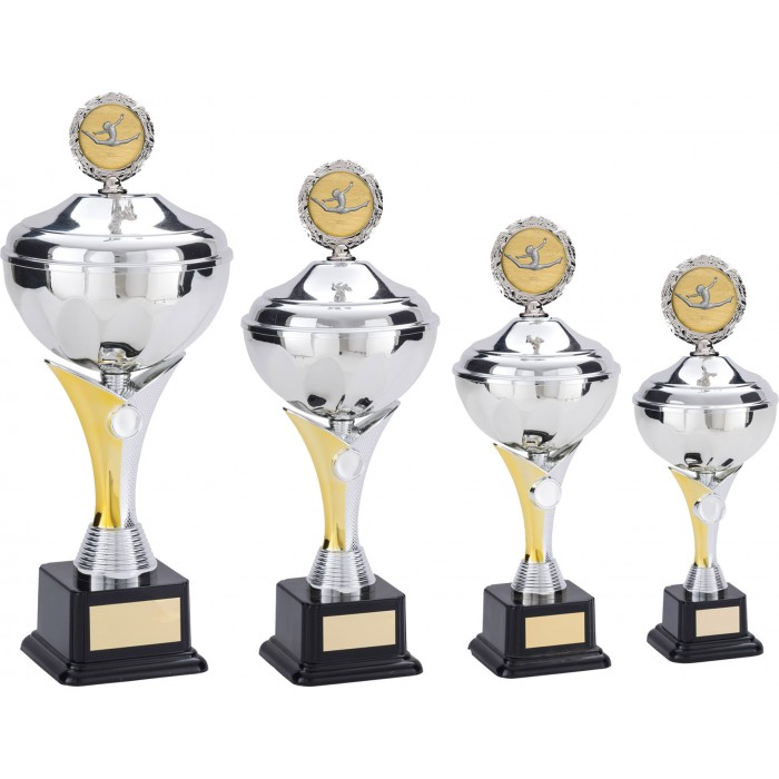 GYMNASTICS TROPHY WITH METAL PLAQUE - CHOICE OF CENTRE  - AVAILABLE IN 5 SIZES