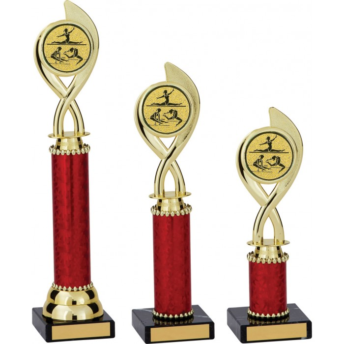 SWIRL PLASTIC GYMNASTIC TROPHY - WITH CHOICE OF CENTRE - 3 SIZES