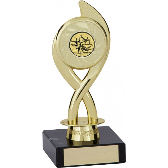 6'' SWIRL PLASTIC GYMNASTICS TROPHY - CHOICE OF CENTRE