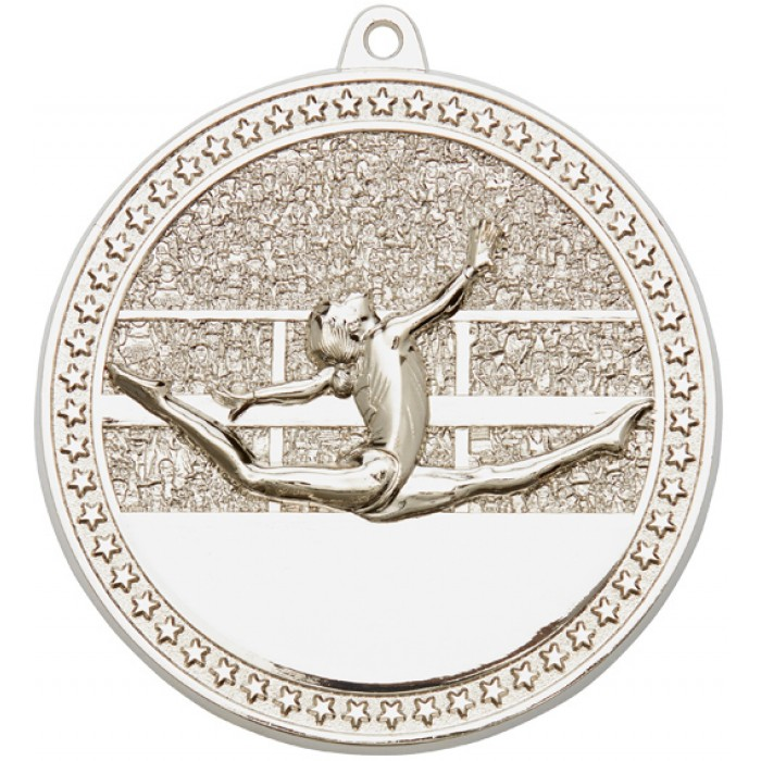 SILVER GYMNASTICS MEDAL - 70MM / 6MM THICK