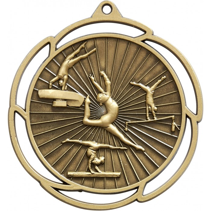 GOLD GYMNASTICS MEDAL - 70MM