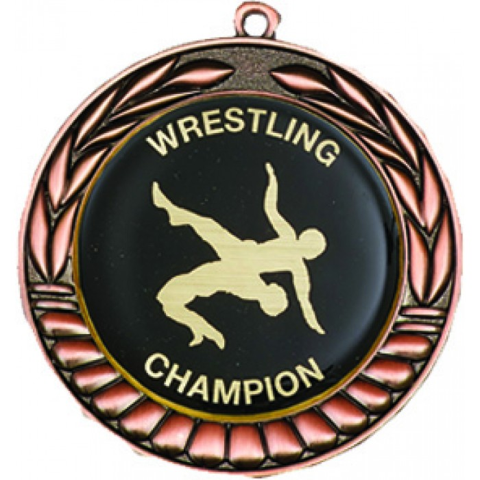 BRONZE 70MM WRESTLING MEDAL