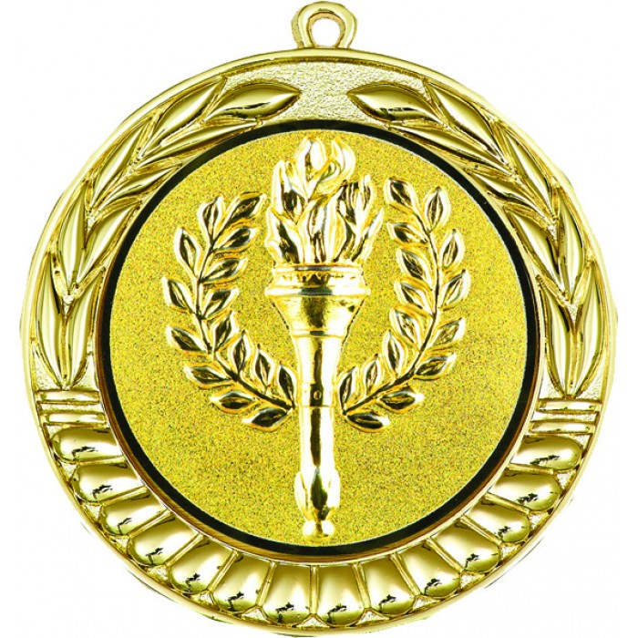70MM X 2MM THICK MEDAL - CHOOSE YOUR OWN CENTRE - GOLD