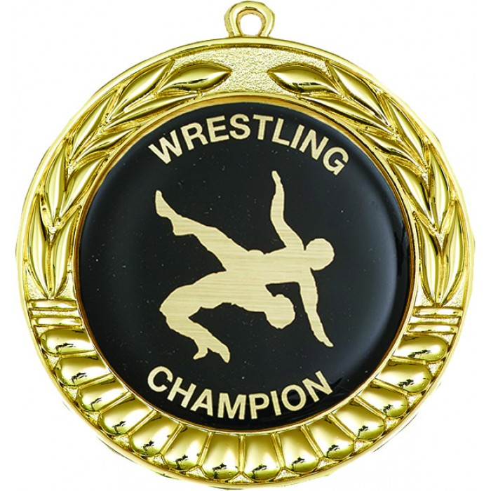 GOLD 70MM WRESTLING MEDAL