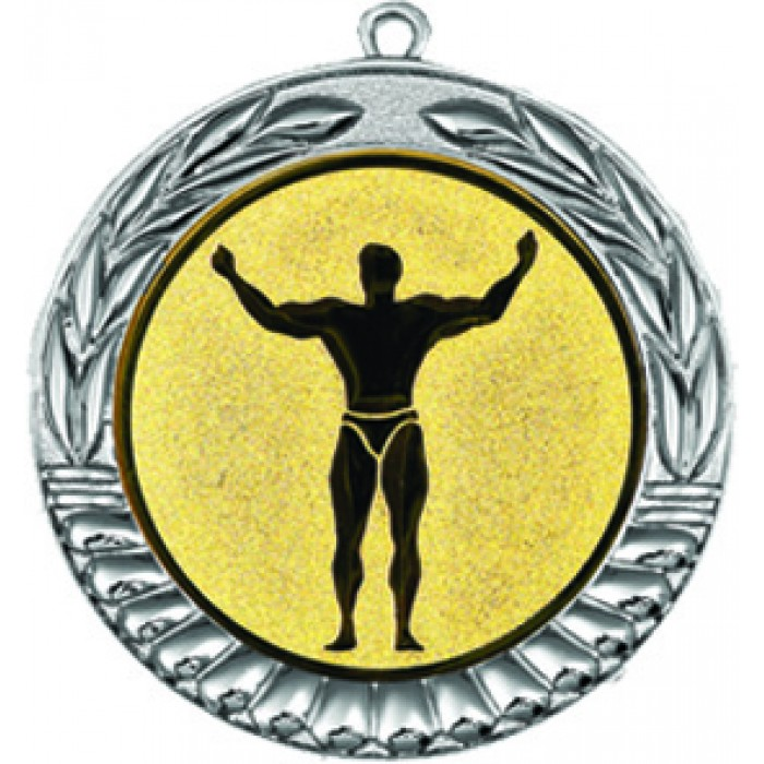 SILVER 70MM BODYBUILDING MEDAL