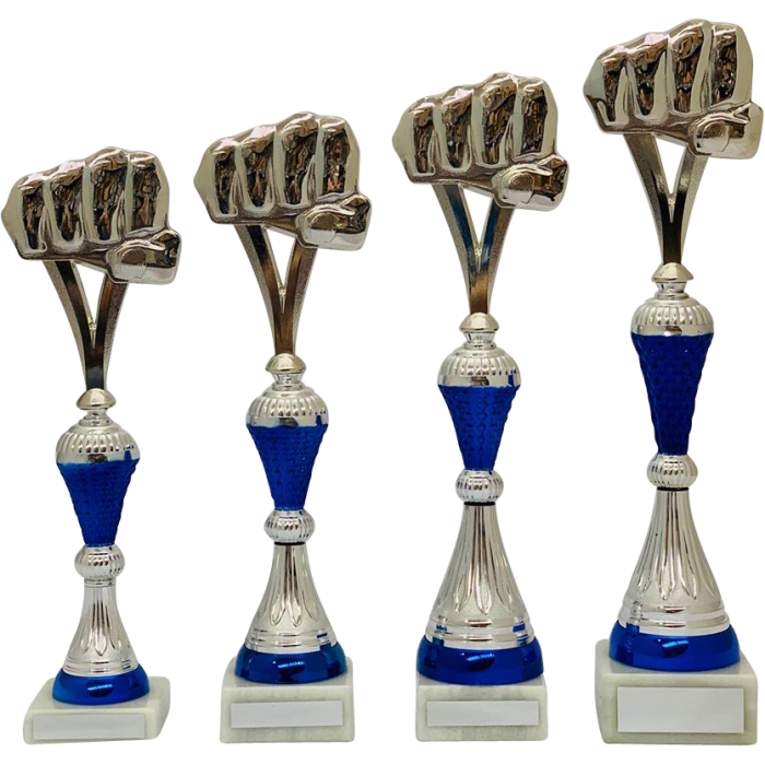 BLUE/SILVER GRAPPLING TROPHY - FIST DESIGN / 4 SIZES