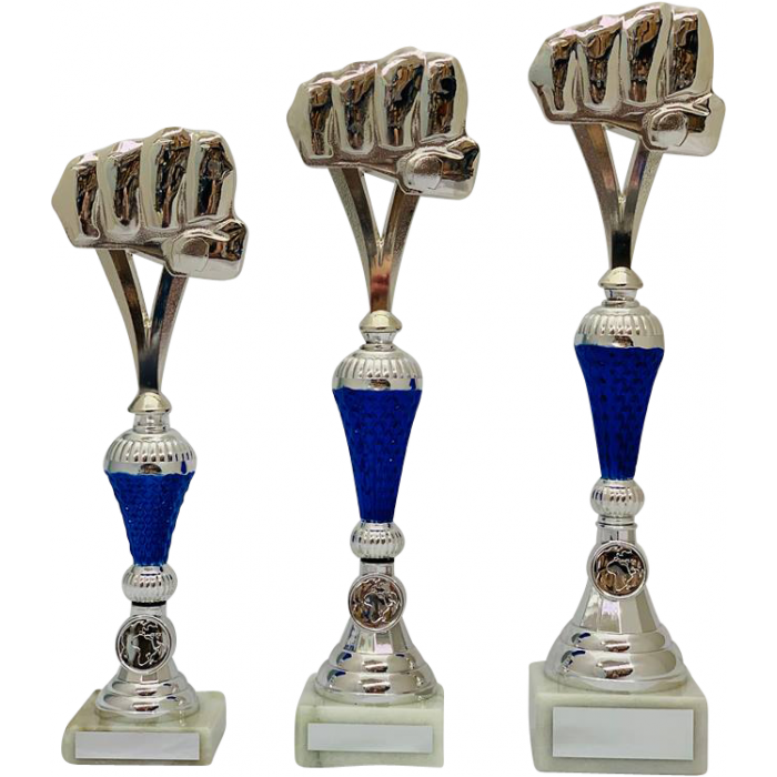 BLUE/SILVER GRAPPLING TROPHY - FIST DESIGN / 3 SIZES
