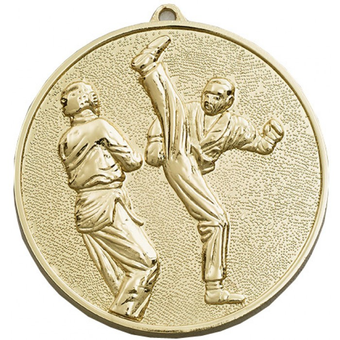 70MM X 6MM THICK GOLD KICKBOXING MEDAL