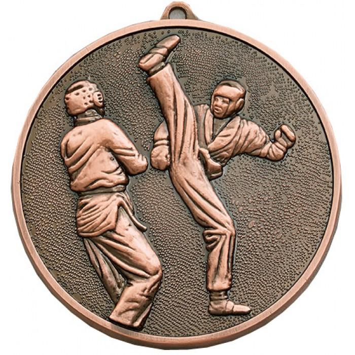 70MM x 6MM THICK BRONZE KICKBOXING MEDAL