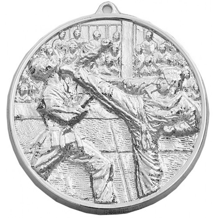 70MM X 6MM SILVER KARATE MEDAL