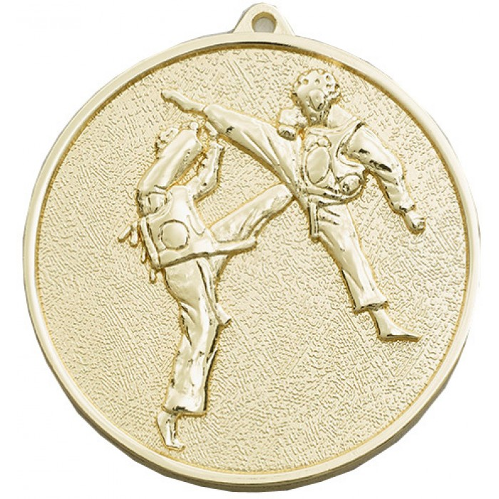 70MM X 6MM THICK GOLD MARTIAL ARTS MEDAL