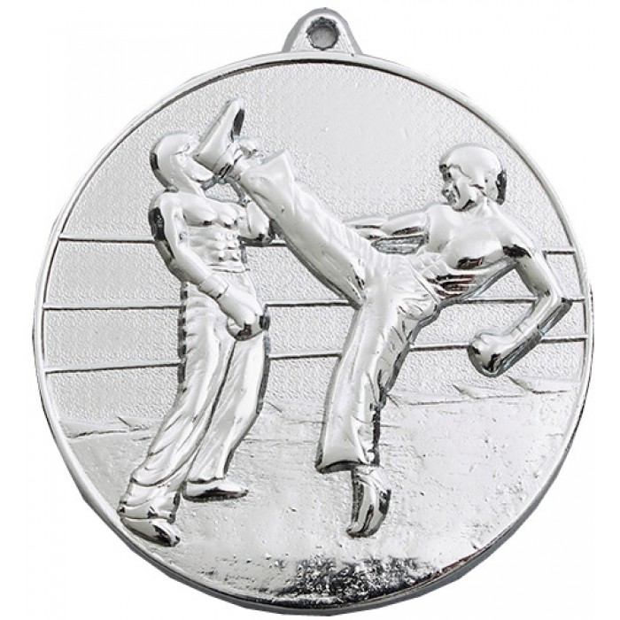 70MM X 6MM THICK SILVER KICKBOXING MEDAL