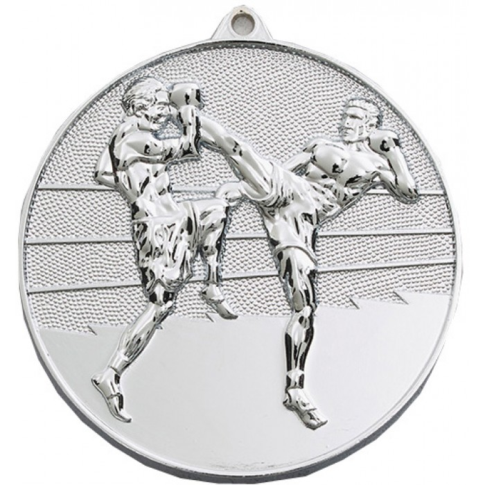 70MM X 6MM SILVER THAI BOXING MEDAL