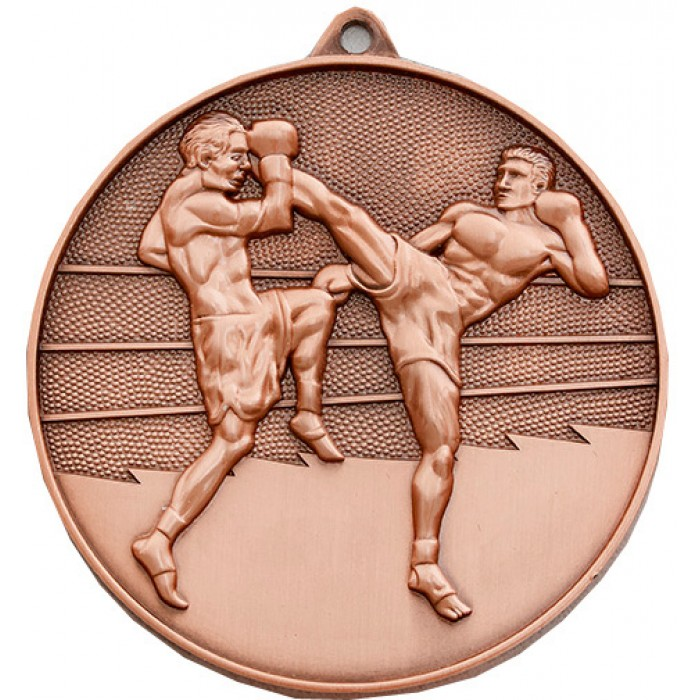 70MM X 6MM THICK BRONZE THAI BOXING MEDAL