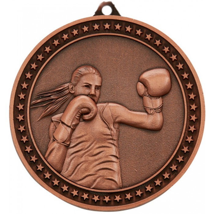 BRONZE 70MM FEMALE BOXING MEDAL