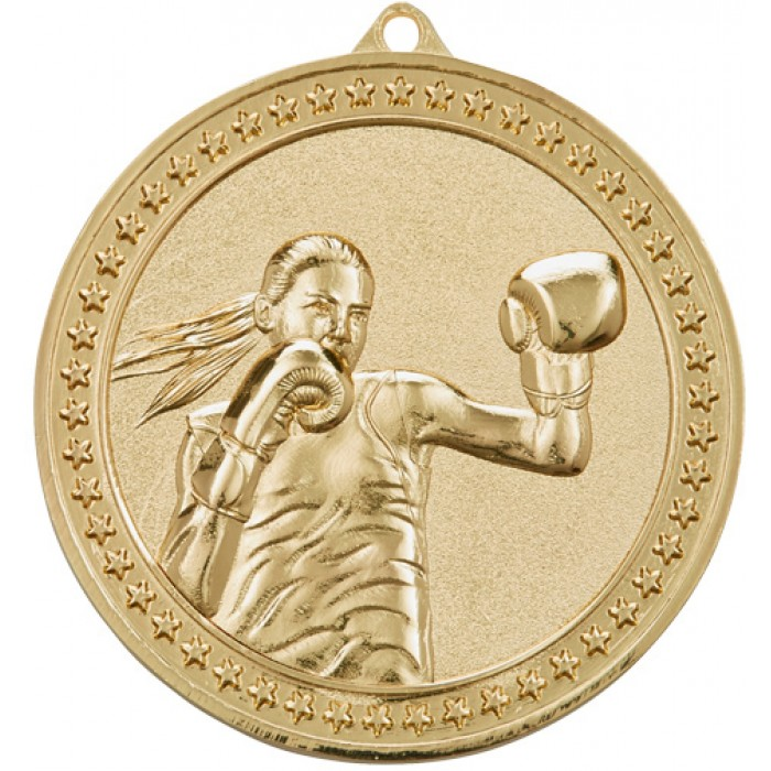 GOLD 70MM FEMALE BOXING MEDAL