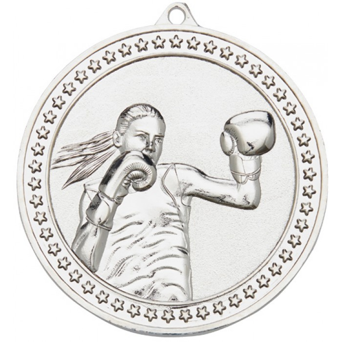 SILVER 70MM FEMALE BOXING MEDAL