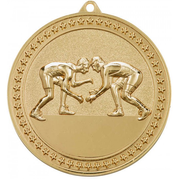 GOLD WRESTLING MEDAL-70MM X 6MM