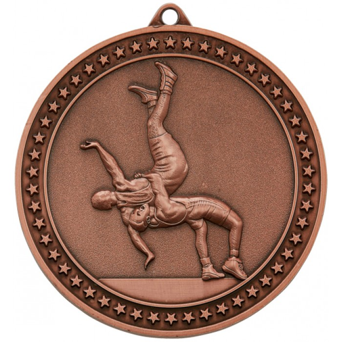 70MM X 6MM THICK BRONZE WRESTLING MEDAL