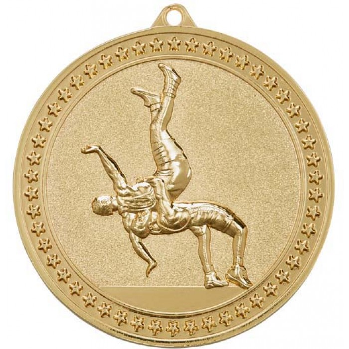 70MM X 6MM THICK GOLD WRESTLING MEDAL