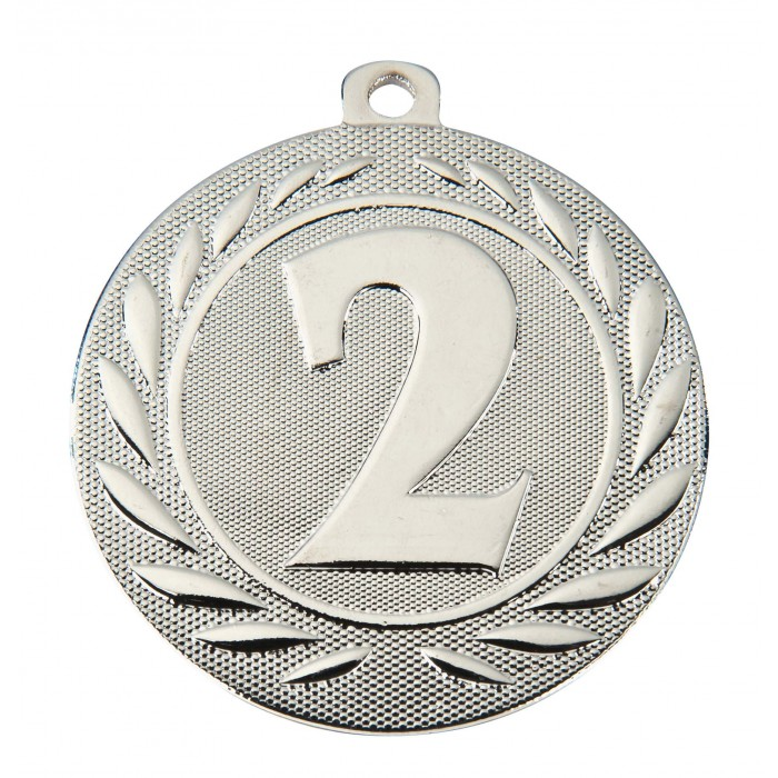 SILVER 2ND PLACE 50MM MEDAL ***SPECIAL OFFER 50% OFF RIBBON PRICE***