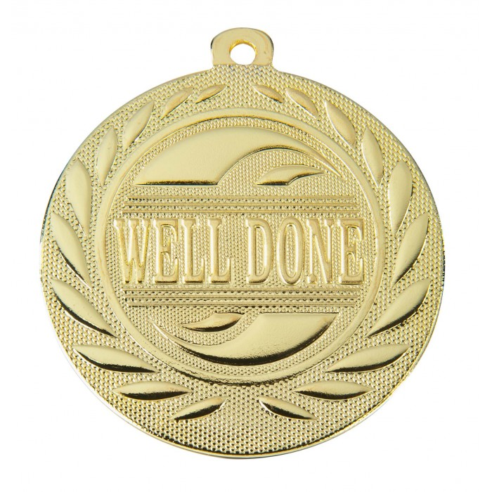 GOLD WELL DONE 50MM MEDAL ***SPECIAL OFFER 50% OFF RIBBON PRICE***