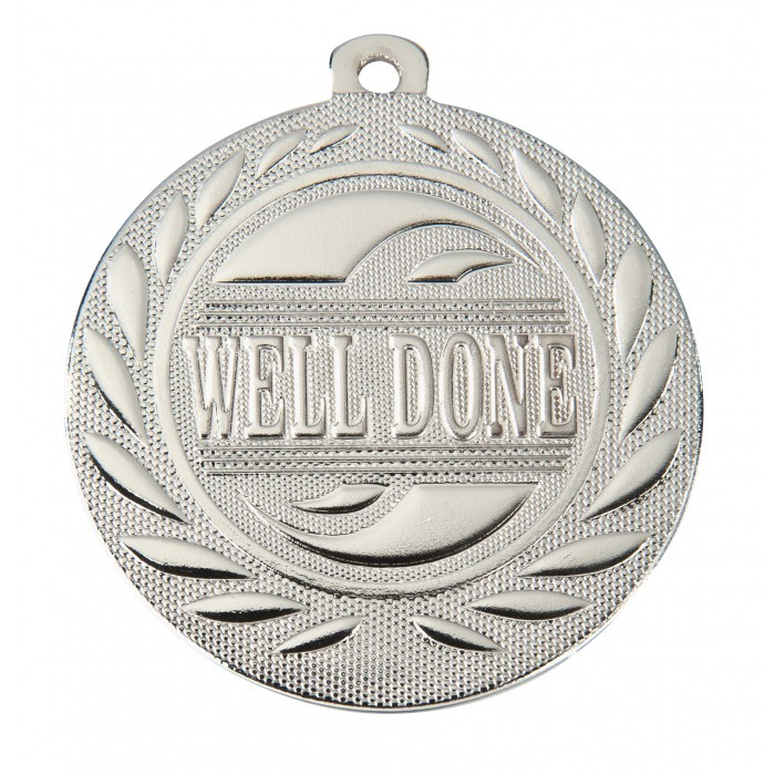 SILVER WELL DONE 50MM MEDAL ***SPECIAL OFFER 50% OFF RIBBON PRICE***