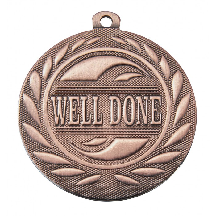 BRONZE WELL DONE 50MM MEDAL ***SPECIAL OFFER 50% OFF RIBBON PRICE***