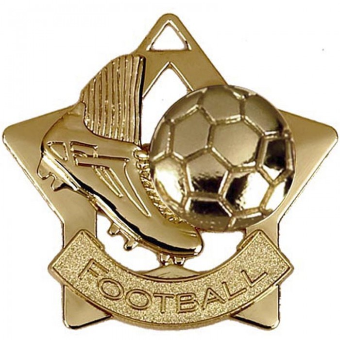 60MM STAR FOOTBALL MEDAL - GOLD-SILVER AND BRONZE