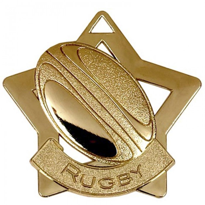 60MM STAR RUGBY MEDAL - 3 COLOURS