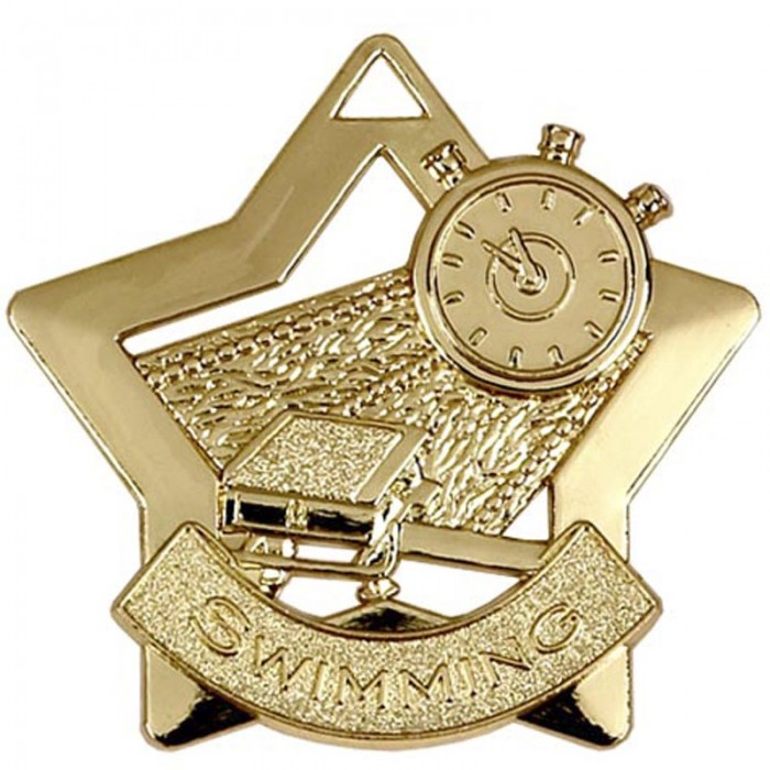60MM STAR SWIMMING MEDAL - 3 COLOURS