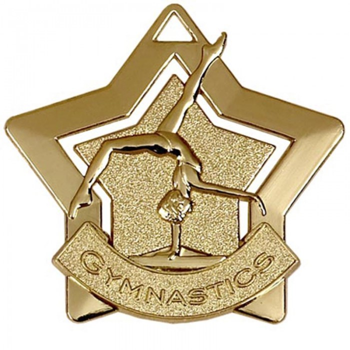 STAR FEMALE GYMNASTICS MEDAL - 60MM - 3 COLOURS