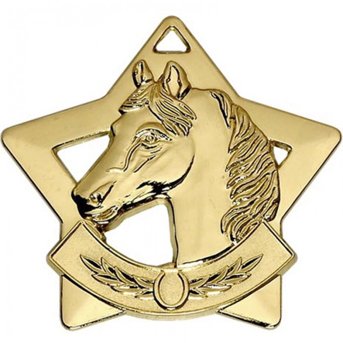 60MM STAR HORSE RIDING MEDAL - 3 COLOURS