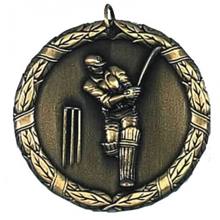50MM CRICKET MEDAL - GOLD & SILVER