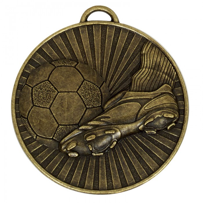 60MM FOOTBALL MEDAL -GOLD-SILVER AND BRONZE