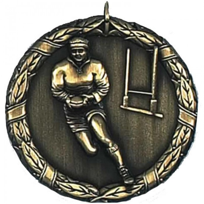 50MM WOMEN'S RUGBY MEDAL - 2 COLOURS