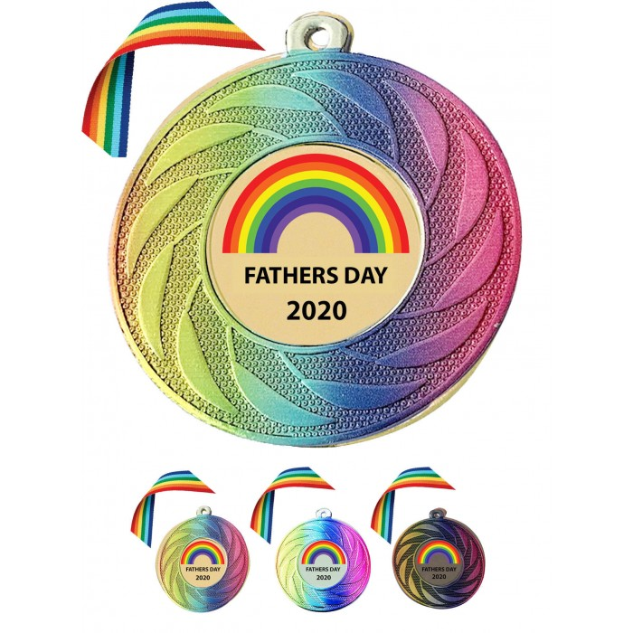 STUNNING RAINBOW COLOURED MEDAL & RAINBOW RIBBON  - 50MM - PERSONALISED WITH MESSAGE ON BACK LOCKDOWN 2020 GOLD, SILVER OR BRONZE - FREE POSTAGE