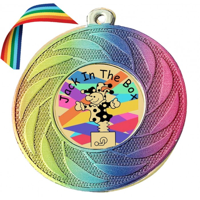 STUNNING RAINBOW CUSTOMISED MEDAL & RAINBOW RIBBON  - 50MM - LOCKDOWN 2020 GOLD, SILVER OR BRONZE - FREE POSTAGE (MINIMUM ORDER OF 20 MEDALS)
