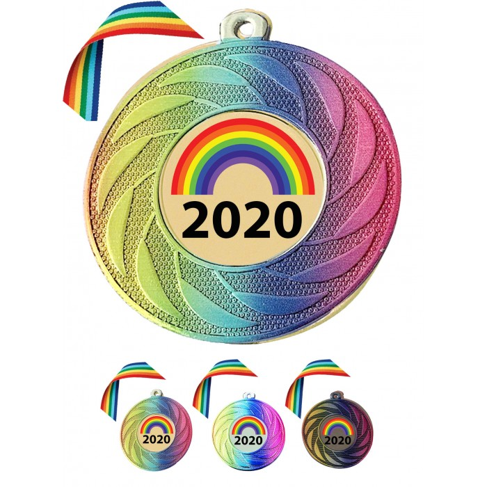 STUNNING RAINBOW COLOURED MEDAL & RAINBOW RIBBON  - 50MM - LOCKDOWN 2020 GOLD, SILVER OR BRONZE - FREE POSTAGE