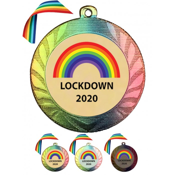 LARGE 70MM RAINBOW COLOURED MEDAL & RAINBOW RIBBON  - LOCKDOWN 2020 GOLD, SILVER OR BRONZE - FREE POSTAGE