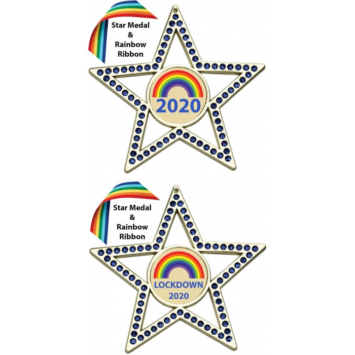 LOCKDOWN BLUE STAR MEDAL & RAINBOW RIBBON  - 75MM - GOLD, SILVER OR BRONZE - FREE POSTAGE