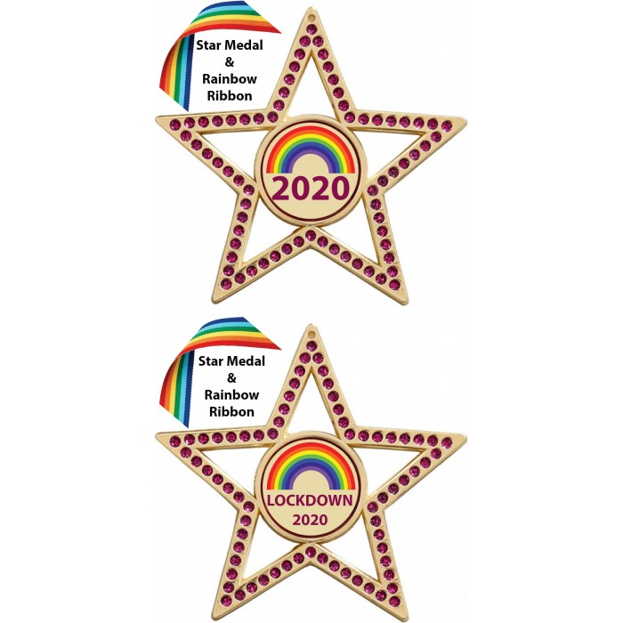 LOCKDOWN RED STAR MEDAL & RAINBOW RIBBON  - 75MM - GOLD, SILVER OR BRONZE - FREE POSTAGE